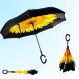 ราคา ราคาถูกที่สุด Reverse Umbrella ร่มหุบกลับด้านมือจับตัว C ลายดอกทานตะวัน Yellow Flower