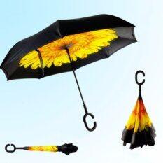 โปรโมชั่น Reverse Umbrella ร่มหุบกลับด้านมือจับตัว C ลายดอกทานตะวัน Yellow Flower กรุงเทพมหานคร