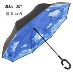 ราคา ร่มกลับด้าน Reverse Umbrella Super Uv Protector มือจับตัว C สีน้ำเงินลายเฆก เป็นต้นฉบับ Unbranded Generic