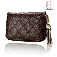 Rfid Blocking Card Wallet Boshiho Womens Leather Credit Card Holder Organizer Compact Tassels Wallet Coffee ใน ฮ่องกง
