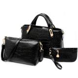 โปรโมชั่น Richcoco Set กระเป๋าแฟชั่นเกาหลี กระเป๋าถือผู้หญิง กระเป๋าสะพายข้าง เซ็ต 3 ใบ สีดำ ใน กรุงเทพมหานคร