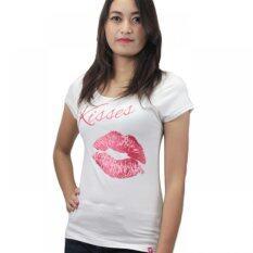 ราคา Rika เสื้อยืดแขนสั้นลาย Kiss สีขาว แดง เป็นต้นฉบับ Rika