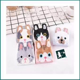 RINLIN ถุงเท้า แพ็ค 5คู่ ผู้หญิง ข้อสั้น แฟชั่น ผู้หญิง Women Lady Girl Ankle Cute Cat Meow Animal Cotton Sports Pastel Socks ลายหน้าน้องแมว