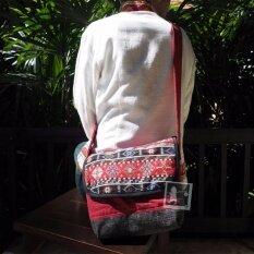 ขาย ซื้อ Rinlin Handmade Red Ver 2 Crossbody Unisex Men Women Shoulder Bag กระเป๋าผ้าฝ้าย แฟชั่น แฮนด์เมด สะพายข้าง สะพายไหล่ พาดลำตัว ลายชาวเขา สีแดง ใน Thailand