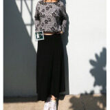Rinlin Japanese Korean Style Fashion Work Women Maxi Long Elastic Spandex High Waist Black Skirts กระโปรงยาว ทรงเอวสูง ใส่ทำงาน สุภาพ ขอบยางยืด สีดำ เป็นต้นฉบับ