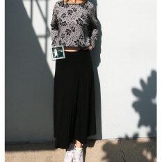 โปรโมชั่น Rinlin Japanese Korean Style Fashion Work Women Maxi Long Elastic Spandex High Waist Black Skirts กระโปรงยาว ทรงเอวสูง ใส่ทำงาน สุภาพ ขอบยางยืด สีดำ Rinlin ใหม่ล่าสุด