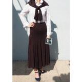 ซื้อ Rinlin Japanese Korean Style Fashion Work Women Maxi Long Elastic Spandex High Waist Brown Skirts กระโปรงยาว ทรงเอวสูง ใส่ทำงาน สุภาพ ขอบยางยืด สีน้ำตาล Rinlin ออนไลน์