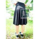 โปรโมชั่น Rinlin Japanese Korean Style Fashion Work Women Midi Elastic Spandex High Waist Pleated Black Jean Skirts กระโปรงยาวคลุมหัวเข่า ทรงเอวสูง ใส่ทำงาน สุภาพ น่ารัก ขอบยางยืด สียีนส์ ดำ Rinlin