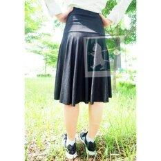 ซื้อ Rinlin Japanese Korean Style Fashion Work Women Midi Elastic Spandex High Waist Pleated Black Jean Skirts กระโปรงยาวคลุมหัวเข่า ทรงเอวสูง ใส่ทำงาน สุภาพ น่ารัก ขอบยางยืด สียีนส์ ดำ Rinlin