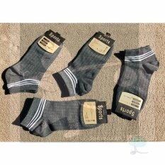 ซื้อ Rinlin ถุงเท้า ข้อสั้น ธุรกิจ ทำงาน แฟชั่น ผู้ชาย Men Guy Boy Sport Classic Plain Old Sch**l White Stripes Color Grey Socks Set แพ็ค 4 คู่ สีเทาเข้มควันบุหรี่ คาดสีขาว 3 แถบ Rinlin