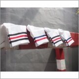 ส่วนลด Rinlin ถุงเท้ายาว หุ้มข้อธุรกิจ ทำงาน แฟชั่น ผู้ชาย Men Boy Sport Classic Plain Stripe Old Sch**l Hipster White Stripes Crew Skate Socks Set แพ็ค 4คู่ สีขาว ดำแดงและน้ำเงินแดง Rinlin Thailand
