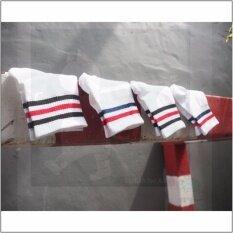 ขาย Rinlin ถุงเท้ายาว หุ้มข้อธุรกิจ ทำงาน แฟชั่น ผู้ชาย Men Boy Sport Classic Plain Stripe Old Sch**l Hipster White Stripes Crew Skate Socks Set แพ็ค 4คู่ สีขาว ดำแดงและน้ำเงินแดง Rinlin เป็นต้นฉบับ