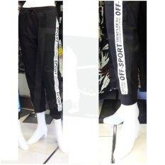 ขาย ซื้อ Rinlin Street Hip Hop Fashion Men Women Cropped Indoor Sport Dance Jogger White Ribbon Pants Elastic Waist Black กางเกงวอร์ม จ๊อกเกอร์ ขายาว ทรงสปอร์ต โยคะ เล่นกีฬา ลำลอง ขอบยางยืด สีดำ แถบริบบิ้นขาว