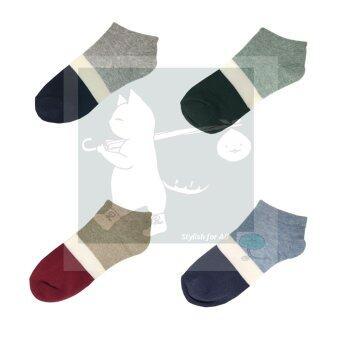 RINLIN ถุงเท้า ข้อสั้น แฟชั่น สตรี Women Lady Girl Sport Royal Short Ankle Cotton Socks แพ็ค สี 4 คู่ ลายขวาง รอยัล