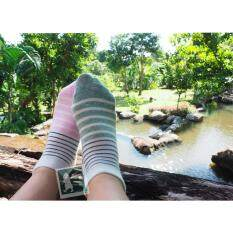Rinlin ถุงเท้า ข้อสั้น แฟชั่น สตรี Women Lady G*rl Sport Layer Striped Short Ankle Cotton Socks แพ็ค สี 3 คู่ ลายขวาง 2แถบ เป็นต้นฉบับ
