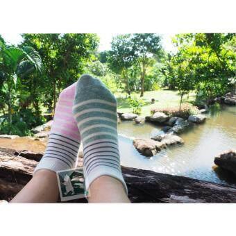 RINLIN ถุงเท้า ข้อสั้น แฟชั่น สตรี Women Lady Girl Sport Layer Striped Short Ankle Cotton Socks แพ็ค สี 3 คู่ ลายขวาง 2แถบ