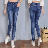 Ripped Denim Pants Elastic Patch Women Pencil Jeans Fashion Skinny Jeans Femme Light Blue Intl ถูก