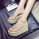 โปรโมชั่น รองเท้าแตะเกาหลีหมุดโปร่งใสในช่วงฤดูร้อน สีเบจ
