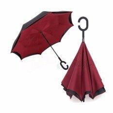 ซื้อ ร่มหุบกลับด้าน 2 ชั้น มือจับตัว C กันแดดUv Reverse Umbrella Dark Red Unbranded Generic ถูก