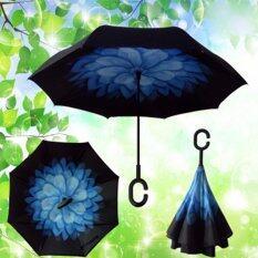 ร่มกลับด้าน 2 ชั้น มือจับตัว C กันแดดuv Reverse Umbrella (blue Daisy) By New Tek.