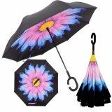 ราคา ร่มกลับด้าน 2 ชั้น มือจับตัว C กันแดดUv Reverse Umbrella Purple Flower ใน กรุงเทพมหานคร