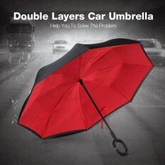 ราคา ร่มกลับด้าน ร่มหุบกลับด้าน 2 ชั้น มือจับตัว C กันแดดUv Reverse Umbrella สีแดง ถูก