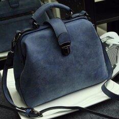 ขาย Rocklife Women High Quality Leather Handbag กระเป๋าถือ กระเป๋าสะพายไหล่ กระเป๋าสะพายพาดลำตัว R1139 Blue Nubuck ถูก ใน ไทย