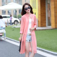 ราคา หญิงฤดูร้อนบางวรรคยาวครีมกันแดดเสื้อผ้า Roomei เสื้อชีฟอง สีชมพู ราคาถูกที่สุด