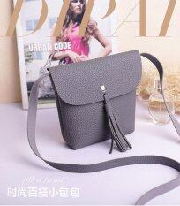 Rorychen Sweet Lady Tassel Bag Mobile Phone Bag Shoulder Diagonal Package Lychee Pattern Cute Coin Purse(Grey) Intl ถูก