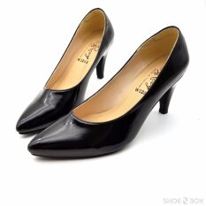 ขาย Rovy รองเท้าออกงาน หนังแก้ว ส้นสูง3นิ้ว W1203 สีดำ ราคาถูกที่สุด