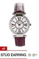 ขาย Royal Crown นาฬิกาประดับเพชร สีม่วง สายหนัง รุ่น 6116 แถมฟรีต่างหูเงินแท้ 1 คู่ ออนไลน์