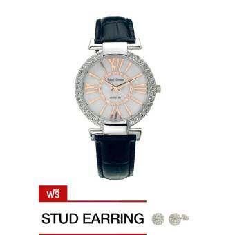 Royal Crown นาฬิกาข้อมือผู้หญิง สีดำ สายหนัง รุ่น 6116-