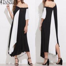 ซื้อ S 5Xl Zanzea Oversized ผู้หญิงฤดูร้อนวีคอปิดแขนสั้นไหล่ Vestido สี Splice ไม่สมมาตรปาร์ตี้ชุดกระโปรง Sundress นานาชาติ ใหม่ล่าสุด
