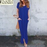 ขาย S 5Xl Zanzea Women Summer Casual V Neck Short Sleeve Split Pockets Loose Party Beach Maxi Long Dress(Royal) Intl Zanzea ถูก