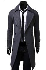 ขาย สไตล์ฤดูใบไม้ร่วงของบางคนหนาวเสื้อโค้ตแบบกระดุมสองแถวยาวคลุมสีเทา Unbranded Generic เป็นต้นฉบับ