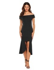 ขาย Sale At Breakdown Price Cyber Big Discount Women Cap Sleeve Off Shoulder Bodycon Asymmetric Calf Dress Slim Party Club Black Intl Unbranded Generic ผู้ค้าส่ง