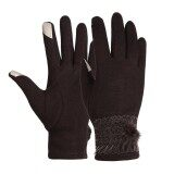 ขาย Sales New Astar New Women Winter Mirco Velvet Full Finger Lace Patchwork Touch Screen Gloves Coffee Intl ถูก