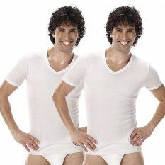 Sanremo แซนรีโม เสื้อแขนสั้นคอวี Modern Classic Pack 2 ตัว รุ่น Nis Sct3 Wh สีขาว เป็นต้นฉบับ
