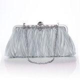 ซื้อ Satin Crystal Clutch Party Wedding Purse Soft Evening Bag Silver ถูก ใน จีน