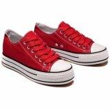 ราคา Sea Amoy Korean Version Canvas Shoes รองเท้าผ้าใบผู้หญิง รุ่น K038 สีแดง) ถูก
