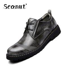 ซื้อ Seanut Men S Genuine Leather Low To Help Casual Shoes Formal Shoes Grey จีน