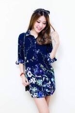ส่วนลด See You Again เสื้อตัวยาวสกรีนลายดอกไม้ สีกรมท่า Thailand