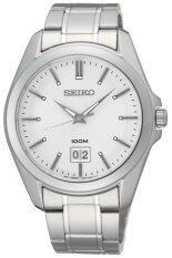 Seiko Quartz Sapphire นาฬิกาข้อมือผู้ชาย สีเงิน ขาว สายสแตนเลส รุ่น Ssur007P1 ถูก