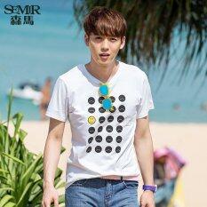 ราคา Semir ฤดูใหม่พิมพ์ฝ้ายถักชายสบาย ๆ เสื้อยืด ขาว จีน