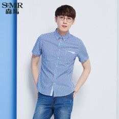 Semir ฤดูใหม่เมินผู้ชายเกาหลีคอสี่เหลี่ยมแขนสั้นผ้าฝ้ายเช็คเชิ้ต น้ำเงิน ใหม่ล่าสุด