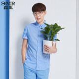 โปรโมชั่น Semir ฤดูใหม่เมินผู้ชายเกาหลีคอสี่เหลี่ยมแขนสั้นผ้าฝ้ายเช็คเชิ้ต ทะเลสาบสีฟ้า จีน
