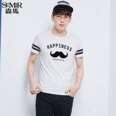 Semir ฤดูร้อนใหม่ผู้ชายเกาหลีแบบสบายๆลายฝ้ายลูกเรือคอสั้นแขนเสื้อเสื้อยืด สีขาว จีน