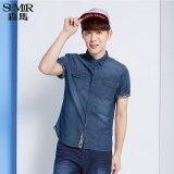 ขาย Semir ฤดูใหม่เมินผู้ชายเกาหลีคอสี่เหลี่ยมแขนสั้นผ้าธรรมดาเสื้อเชิ้ต ทะเลสาบสีฟ้า Semir ออนไลน์
