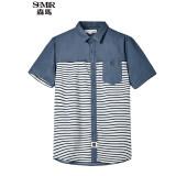 ราคา Semir Summer New Men Korean Casual Stripe Cotton Square Neck Short Sleeve Shirts Lake Blue ใน จีน