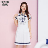 ขาย Semir Summer New Women Korean Casual Letter Cotton Crew Neck Short Sleeve Shift Dresses White ใหม่